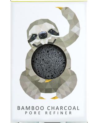 Gąbka Konjac MINI Rainforest Leniwiec z czarnym węglem bambusowym do cery tłustej i problematycznej