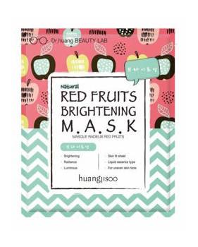 huangjisoo Red Fruits rozjaśniająco-rozświetlająca maska do twarzy w płachcie Czerwone Owoce, Jabłko i Acerola