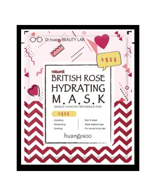 huangjisoo British Rose nawilżająca maska do twarzy w płachcie Brytyjska Róża, Skwalan i Rumianek