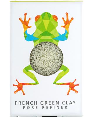 Gabka KONJAC MINI Rainforest - Żabka z zieloną glinką do cery normalnej, tłustej, mieszanej