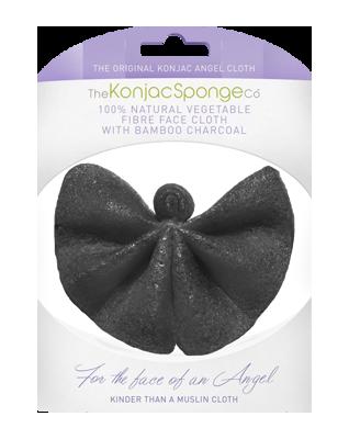 Konjac Angel's Cloth chusteczka z Gąbki Konjac z czarnym węglem bambusowym do oczyszczania i demakijażu twarzy