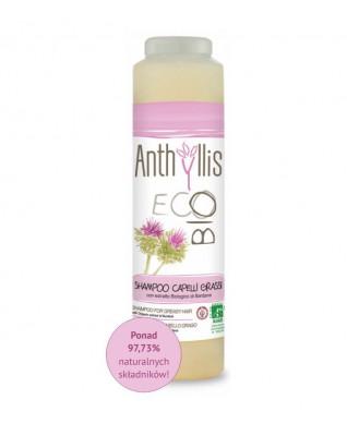 Szampon z wyciągiem z łopianu z ekologicznych upraw do mycia włosów tłustych, z łupieżem,Anthyllis Eco Bio