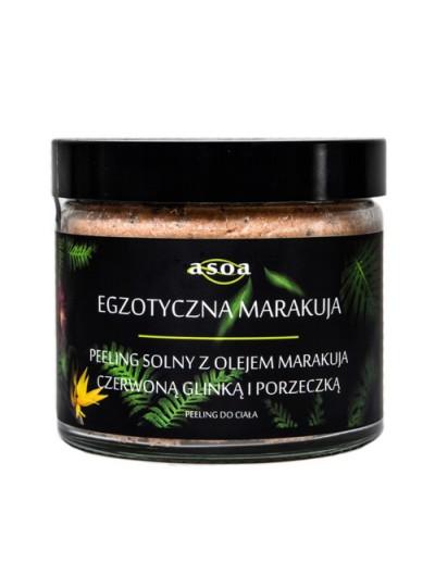Egzotyczna marakuja - peeling solny z olejem marakuja, czerwoną glinką i porzeczką ASOA