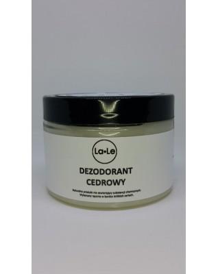 Dezodorant ekologiczny w kremie z olejkiem cedrowym 120 ml w szklanym opakowaniu La-Le