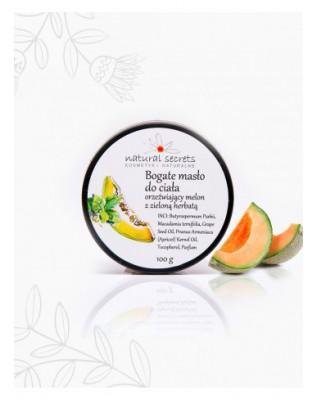 Bogate masło do ciała orzeźwiający melon z zieloną herbatą 100ml Natural Secrets