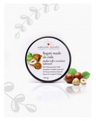 Bogate masło do ciała słodkie toffi z orzechem laskowym 100ml Natural Secrets
